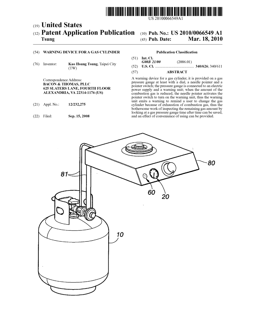 Warning device for a gas cylinder - diagram, schematic, and image 01