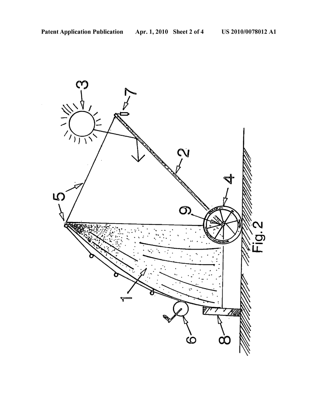Half parabolic dish reflector with planar reflector solar smelter - diagram, schematic, and image 03