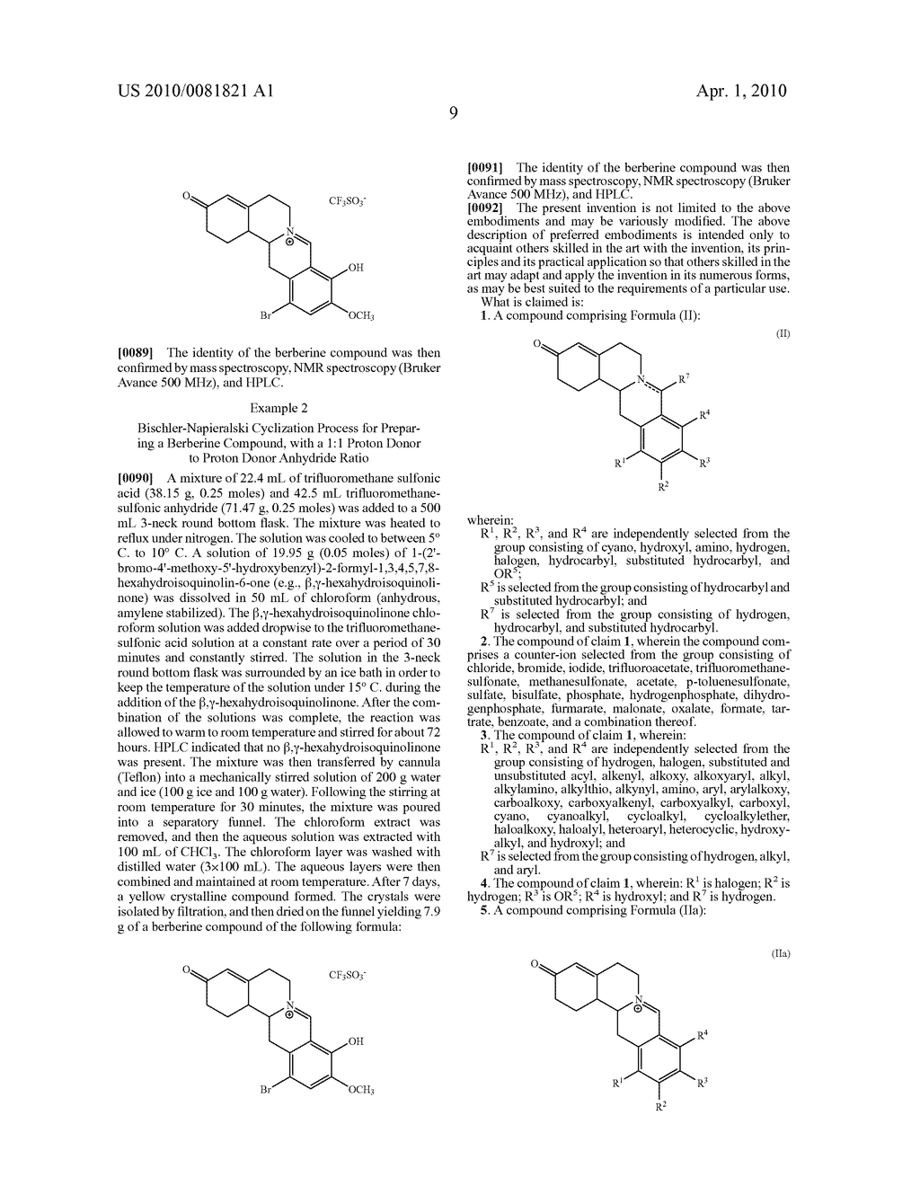 Berberine compounds and processes for the preparation of berberine compounds - diagram, schematic, and image 10