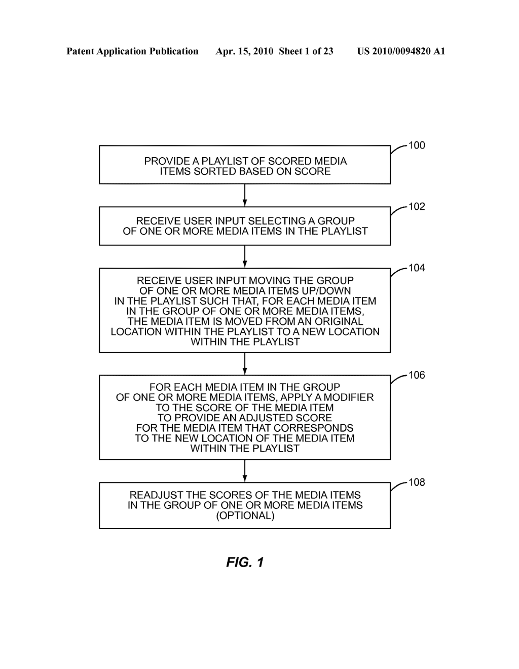 METHOD FOR AFFECTING THE SCORE AND PLACEMENT OF MEDIA ITEMS IN A LOCKED-TO-TOP PLAYLIST - diagram, schematic, and image 02