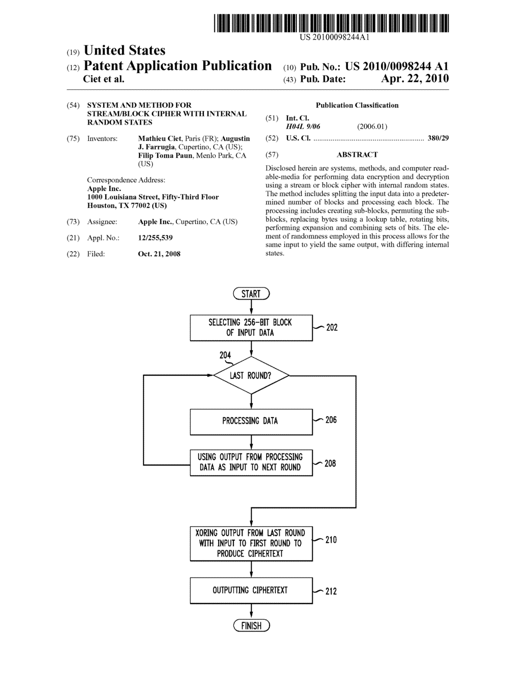 SYSTEM AND METHOD FOR STREAM/BLOCK CIPHER WITH INTERNAL RANDOM STATES - diagram, schematic, and image 01