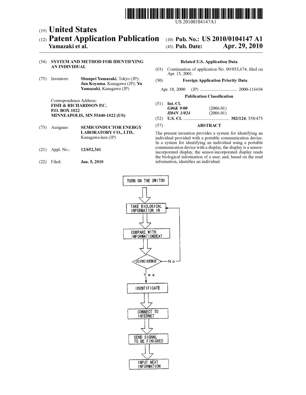 SYSTEM AND METHOD FOR IDENTIFYING AN INDIVIDUAL - diagram, schematic, and image 01