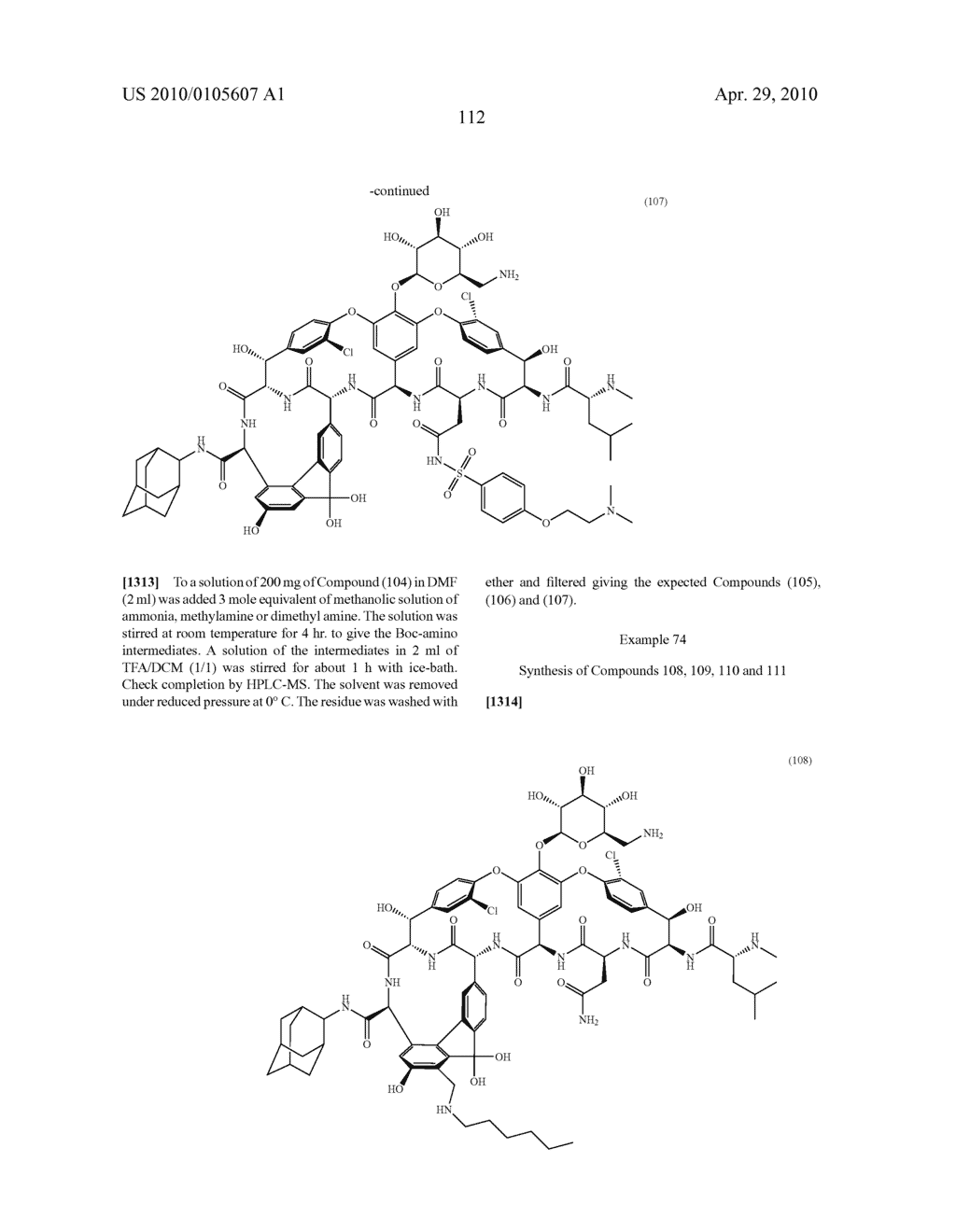 NOVEL SEMI-SYNTHETIC GLYCOPEPTIDES AS ANTIBACTERIAL AGENTS - diagram, schematic, and image 112