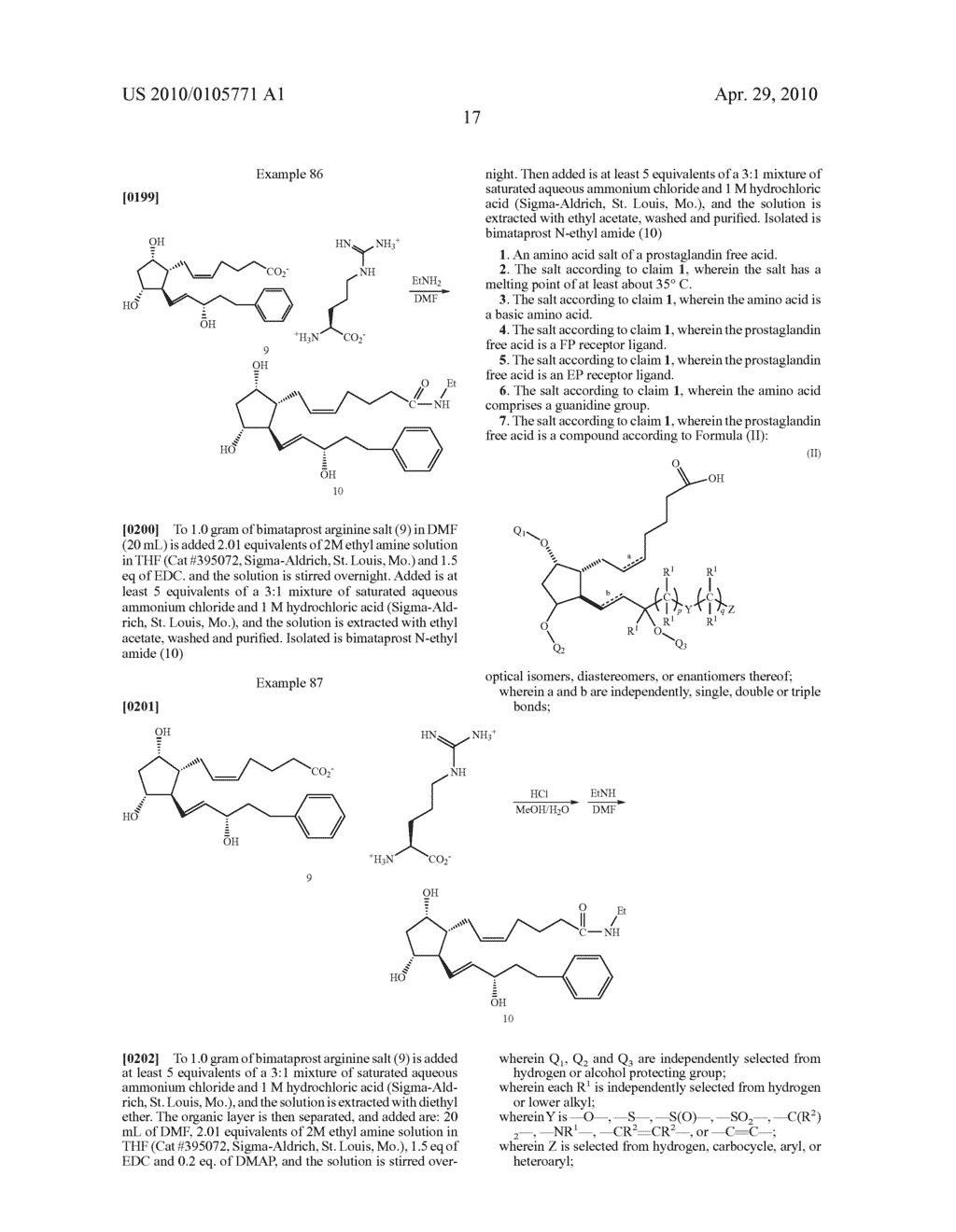 AMINO ACID SALTS OF PROSTAGLANDINS - diagram, schematic, and image 18