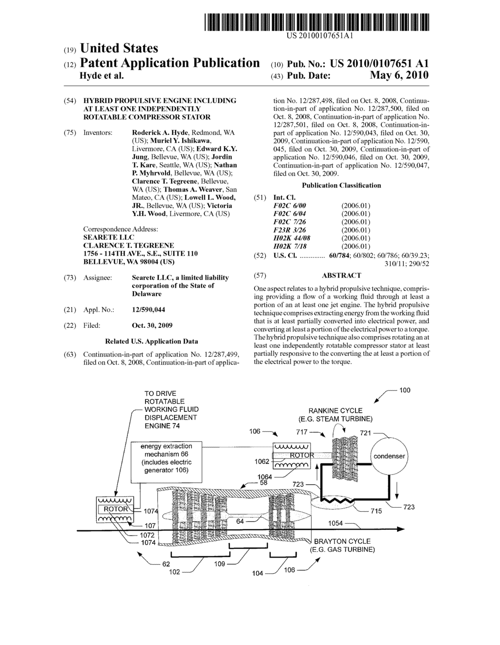 Hybrid propulsive engine including at least one independently rotatable compressor stator - diagram, schematic, and image 01