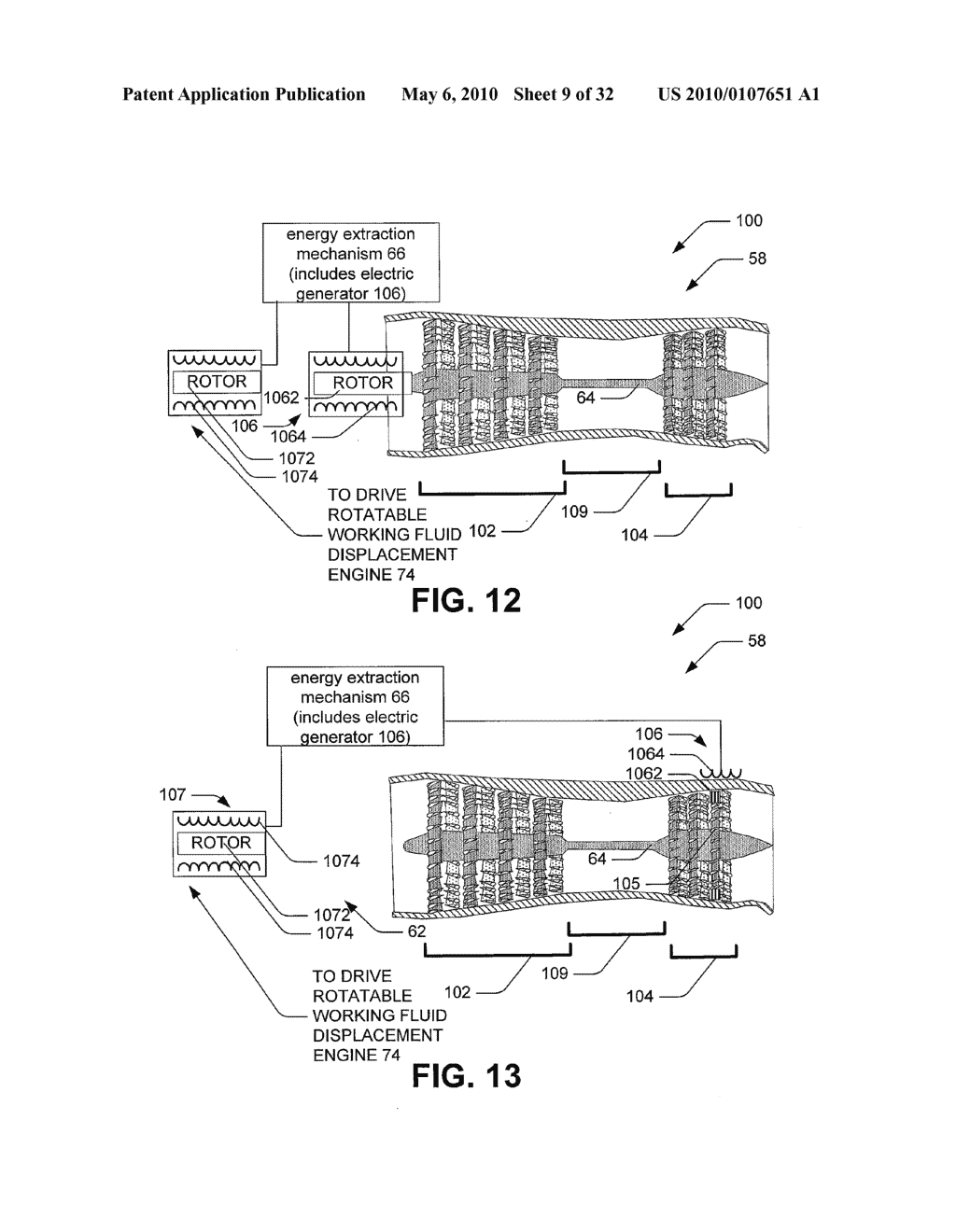 Hybrid propulsive engine including at least one independently rotatable compressor stator - diagram, schematic, and image 10