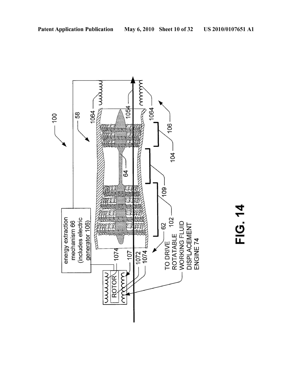 Hybrid propulsive engine including at least one independently rotatable compressor stator - diagram, schematic, and image 11
