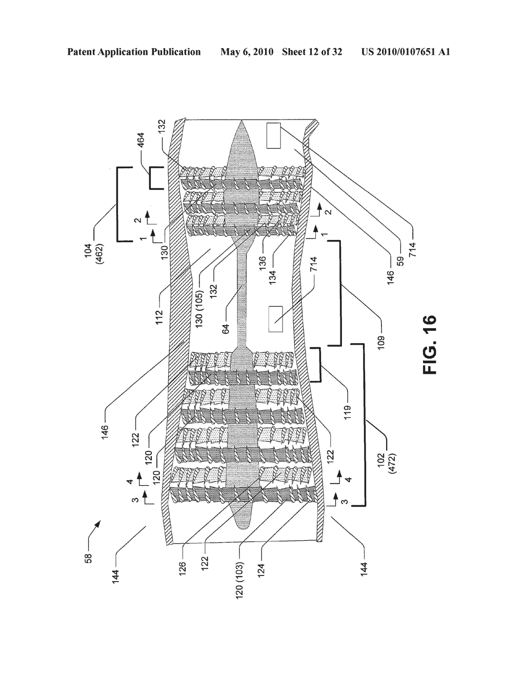 Hybrid propulsive engine including at least one independently rotatable compressor stator - diagram, schematic, and image 13