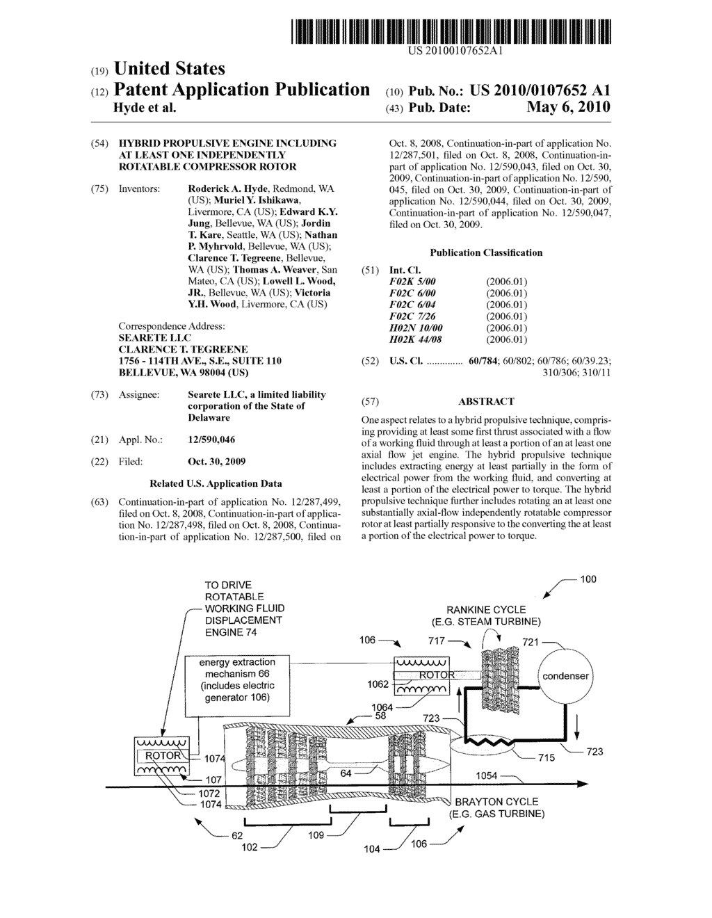 Hybrid propulsive engine including at least one independently rotatable compressor rotor - diagram, schematic, and image 01