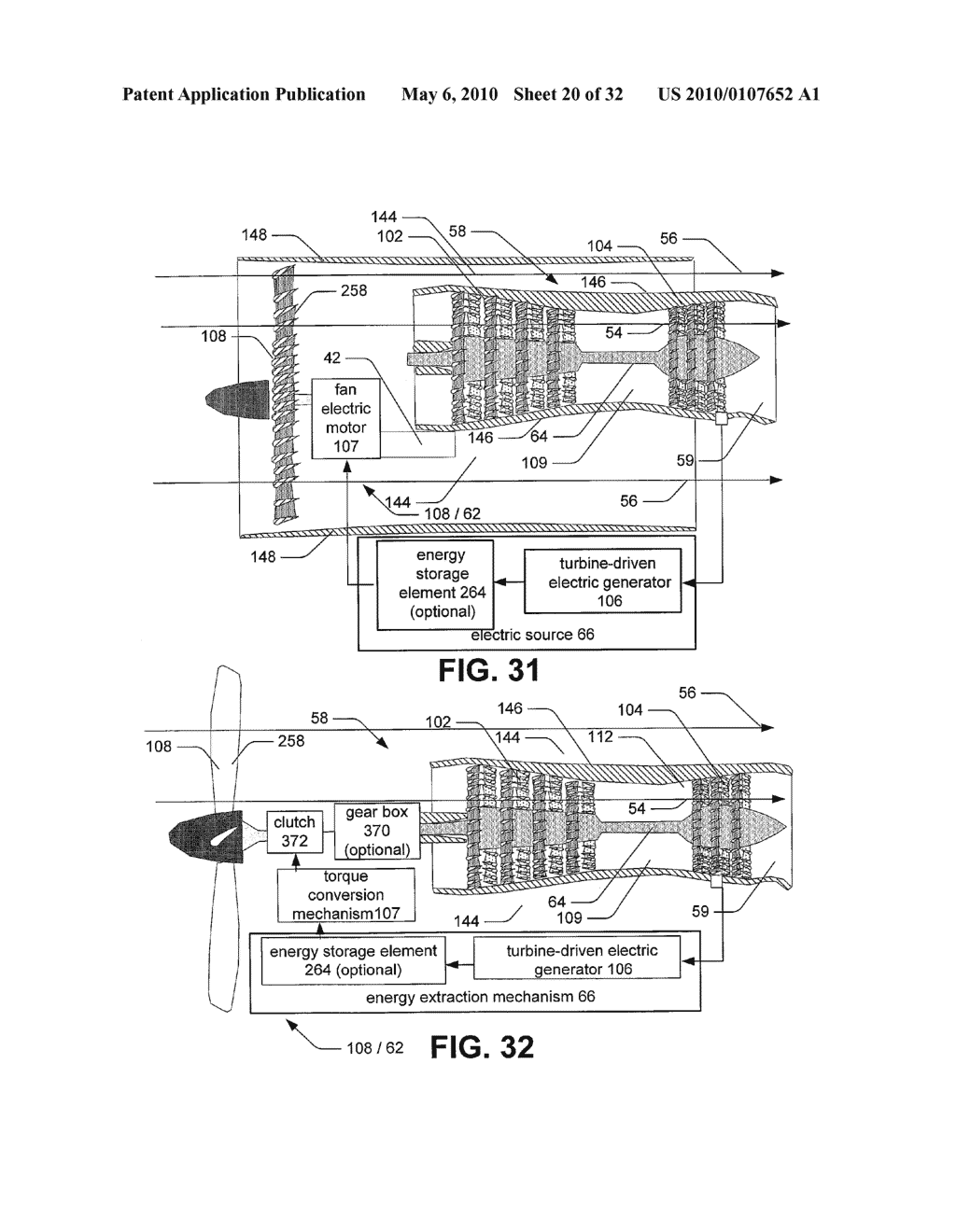Hybrid propulsive engine including at least one independently rotatable compressor rotor - diagram, schematic, and image 21