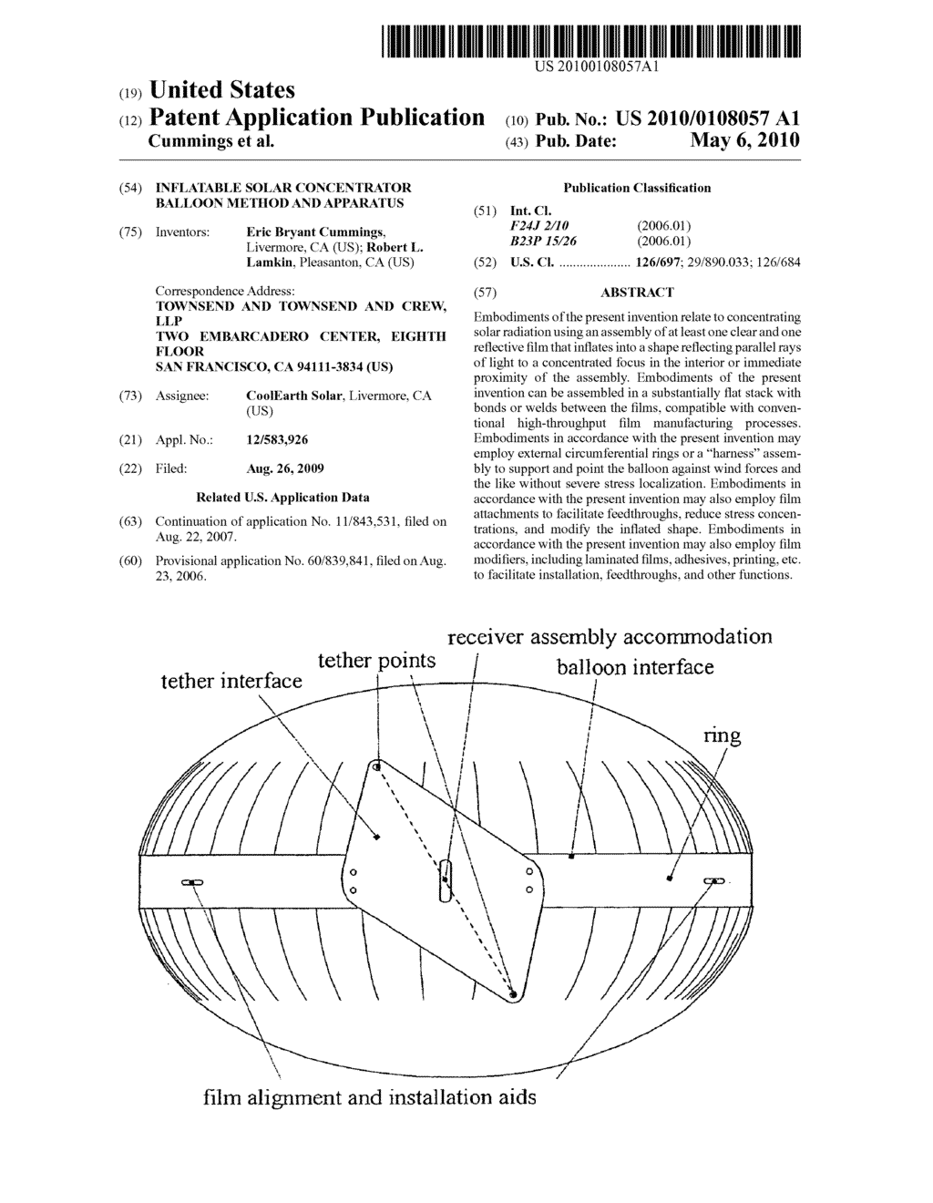 Inflatable solar concentrator balloon method and apparatus - diagram, schematic, and image 01