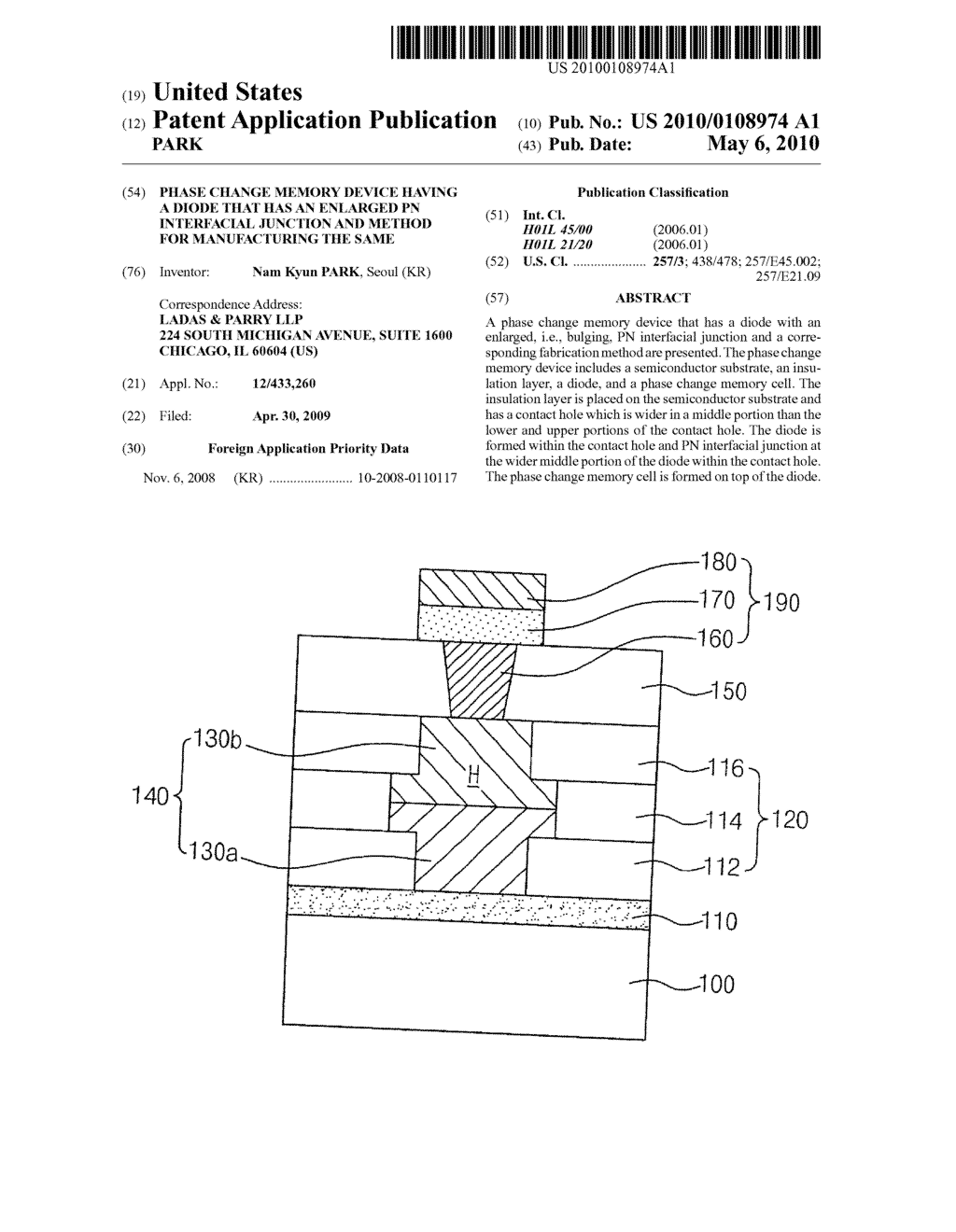 PHASE CHANGE MEMORY DEVICE HAVING A DIODE THAT HAS AN ENLARGED PN INTERFACIAL JUNCTION AND METHOD FOR MANUFACTURING THE SAME - diagram, schematic, and image 01
