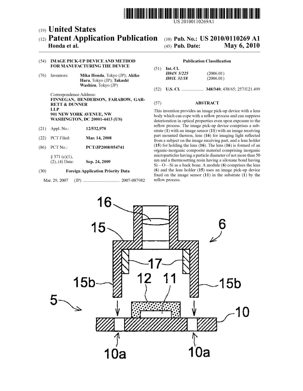 IMAGE PICK-UP DEVICE AND METHOD FOR MANUFACTURING THE DEVICE - diagram, schematic, and image 01