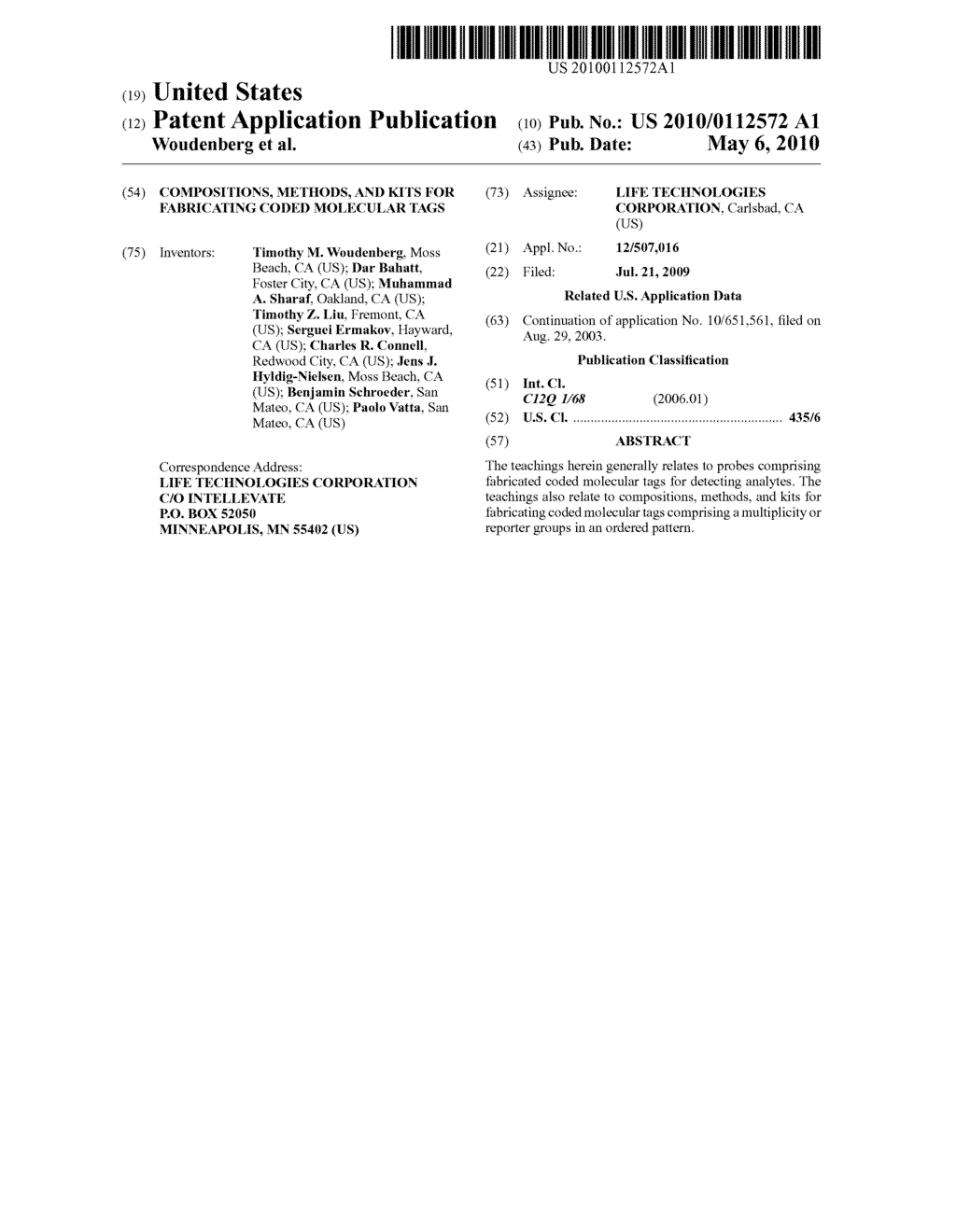COMPOSITIONS, METHODS, AND KITS FOR FABRICATING CODED MOLECULAR TAGS - diagram, schematic, and image 01