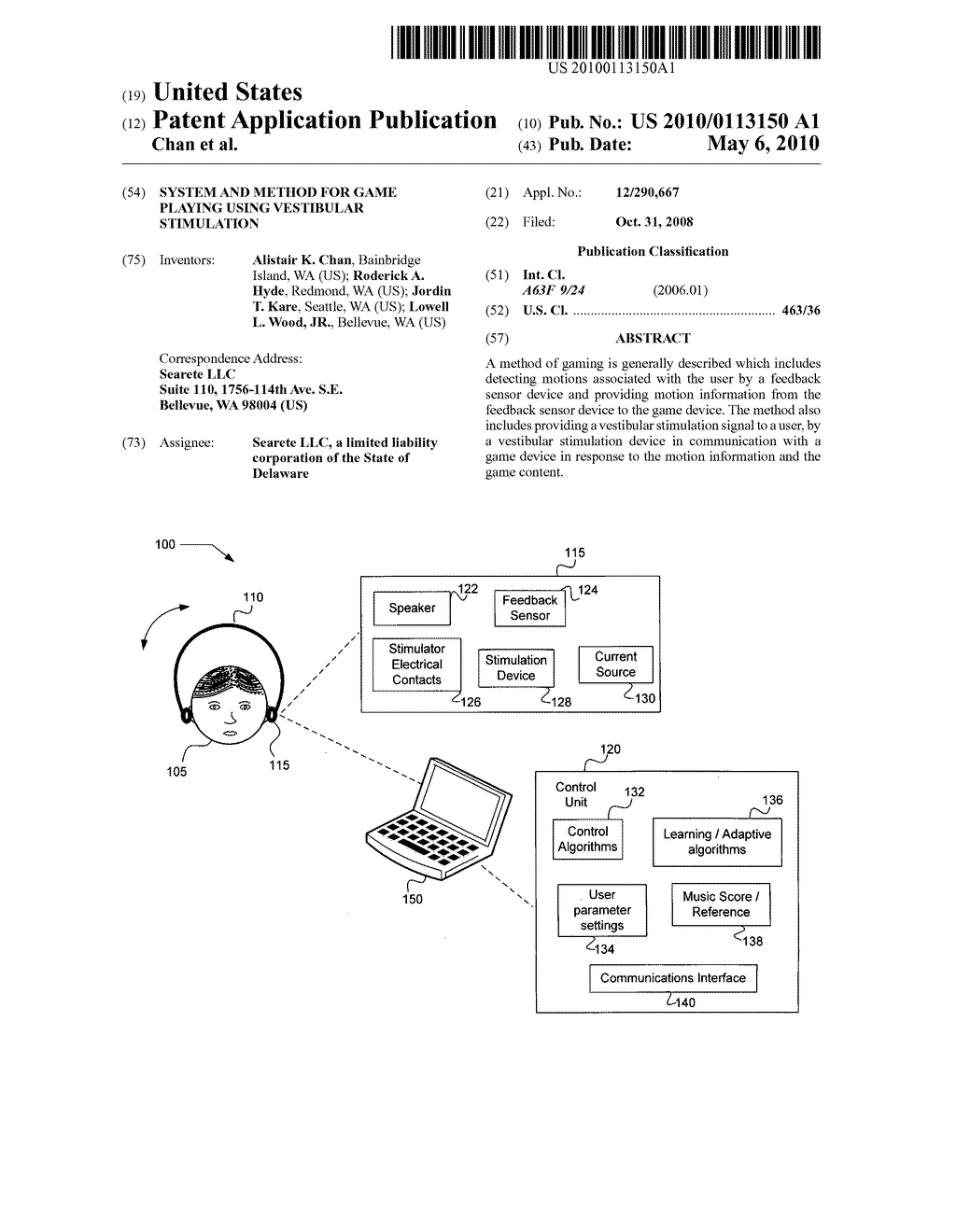 System and method for game playing using vestibular stimulation - diagram, schematic, and image 01
