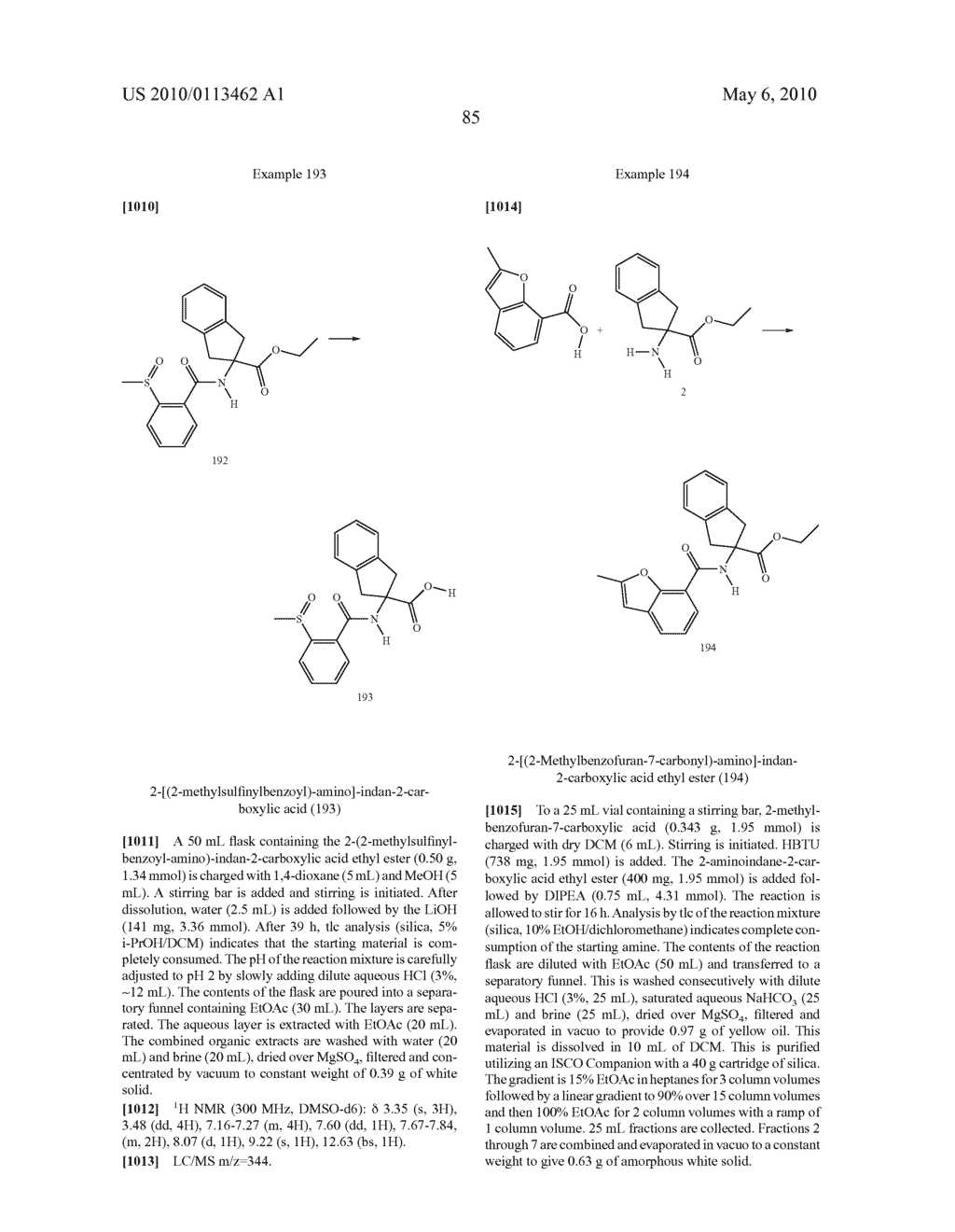 SUBSTITUTED BENZOYLAMINO-INDAN-2-CARBOXYLIC ACIDS AND RELATED COMPOUNDS - diagram, schematic, and image 86