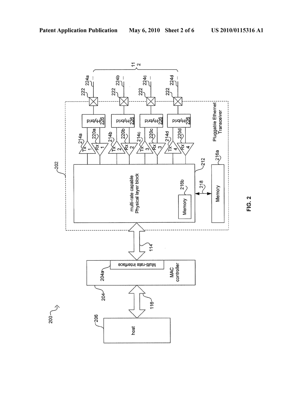 METHOD AND SYSTEM FOR MANAGING ENERGY EFFICIENCY OF A NETWORK LINK VIA PLUGGABLE TRANSCEIVER MODULES IN AN ENERGY EFFICIENT NETWORK DEVICE - diagram, schematic, and image 03