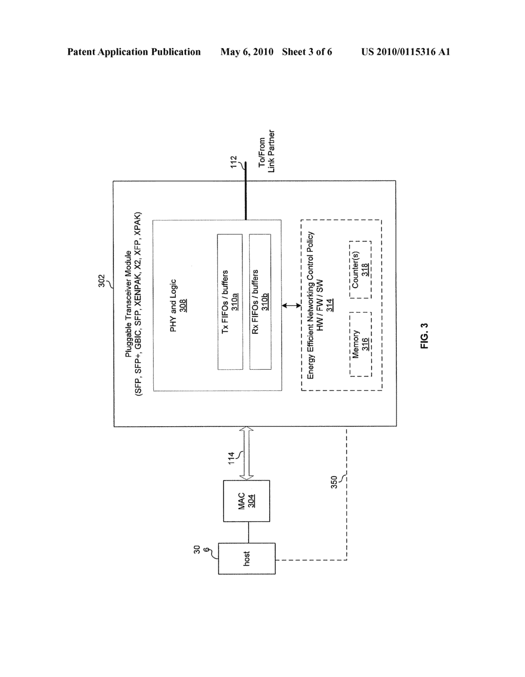 METHOD AND SYSTEM FOR MANAGING ENERGY EFFICIENCY OF A NETWORK LINK VIA PLUGGABLE TRANSCEIVER MODULES IN AN ENERGY EFFICIENT NETWORK DEVICE - diagram, schematic, and image 04
