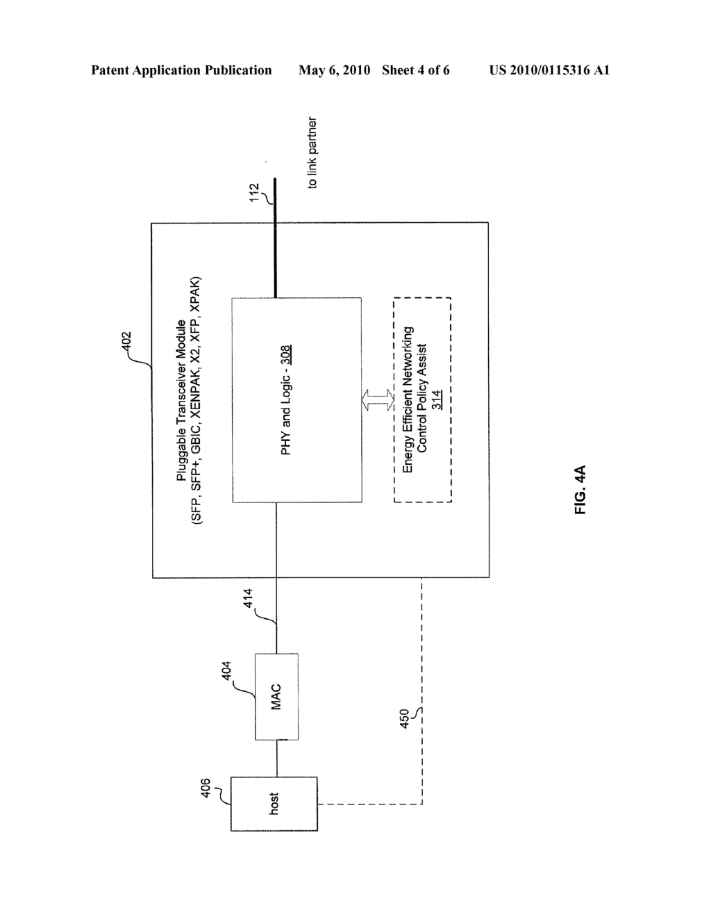 METHOD AND SYSTEM FOR MANAGING ENERGY EFFICIENCY OF A NETWORK LINK VIA PLUGGABLE TRANSCEIVER MODULES IN AN ENERGY EFFICIENT NETWORK DEVICE - diagram, schematic, and image 05