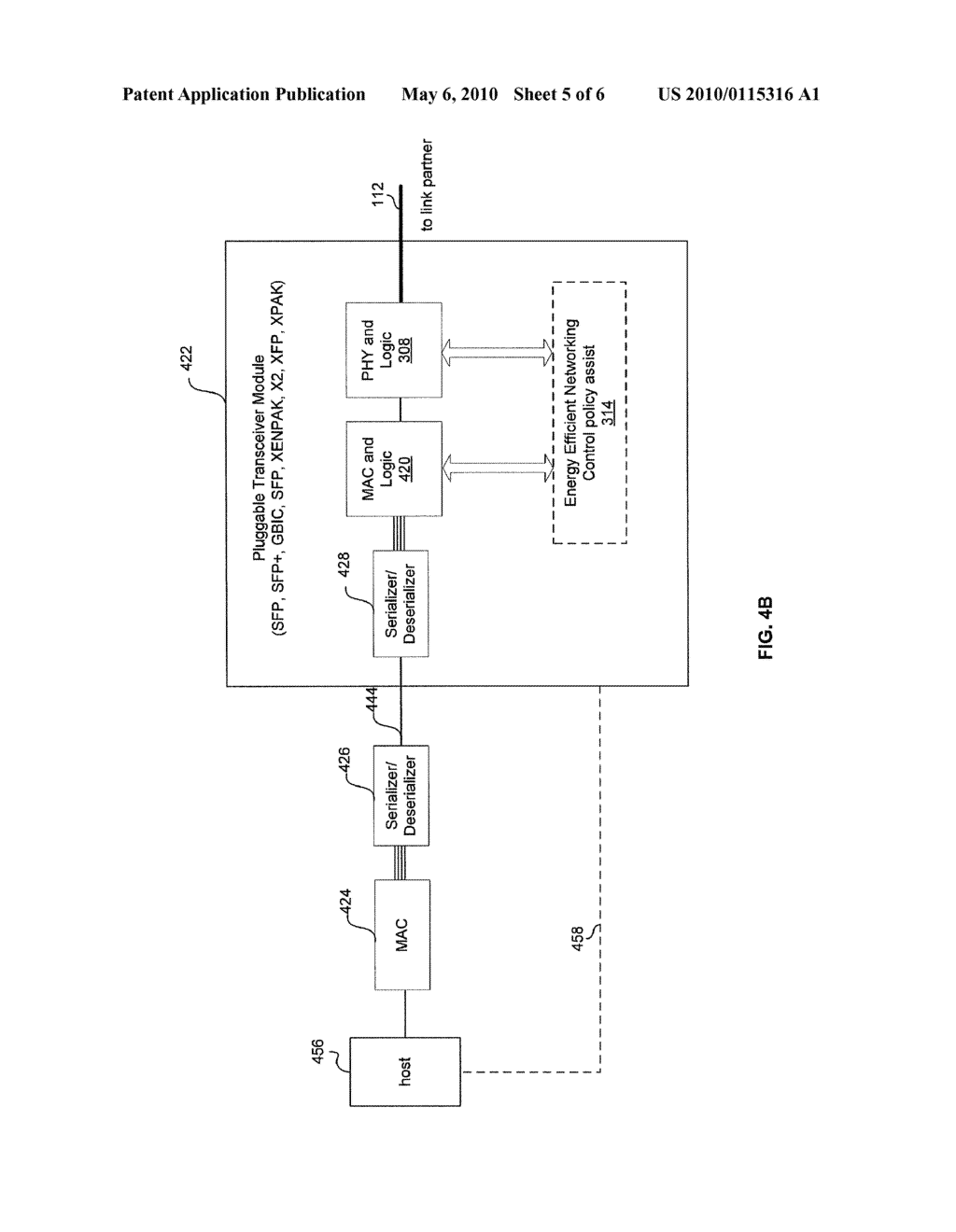 METHOD AND SYSTEM FOR MANAGING ENERGY EFFICIENCY OF A NETWORK LINK VIA PLUGGABLE TRANSCEIVER MODULES IN AN ENERGY EFFICIENT NETWORK DEVICE - diagram, schematic, and image 06