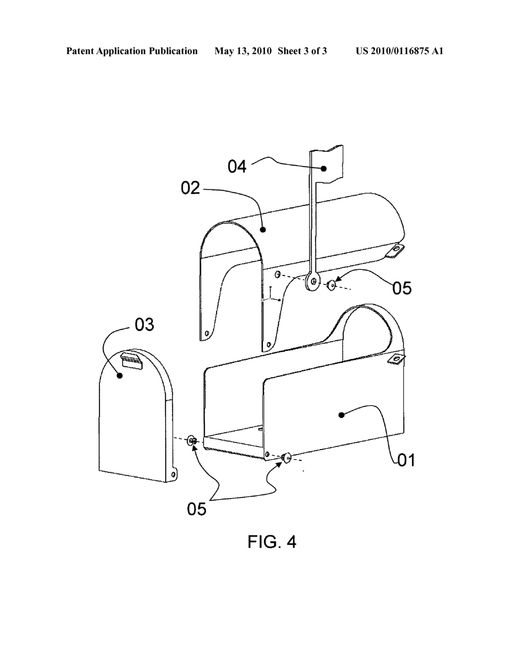 20100116875_04 tiltable secondary door, translucent & automatic smart mailbox