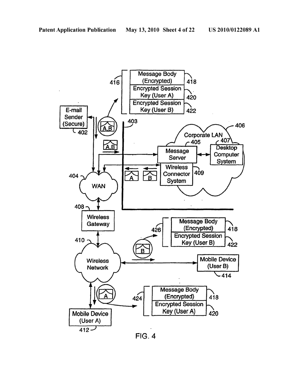 SYSTEM AND METHOD FOR COMPRESSING SECURE E-MAIL FOR EXCHANGE WITH A MOBILE DATA COMMUNICATION DEVICE - diagram, schematic, and image 05
