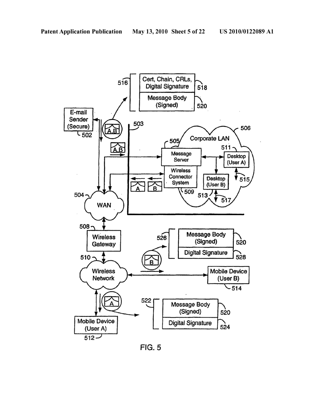 SYSTEM AND METHOD FOR COMPRESSING SECURE E-MAIL FOR EXCHANGE WITH A MOBILE DATA COMMUNICATION DEVICE - diagram, schematic, and image 06