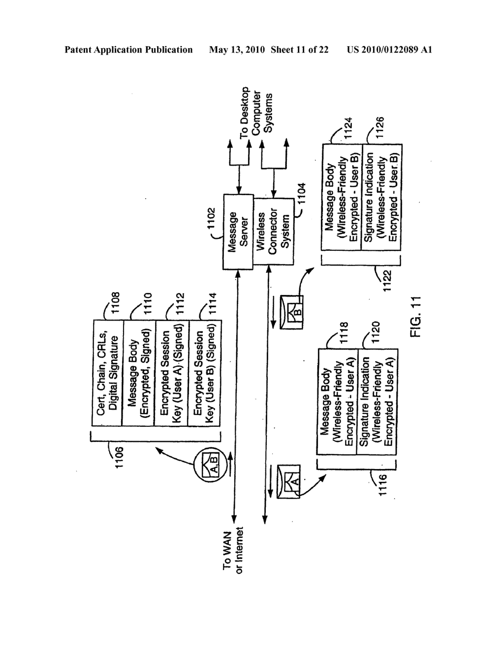 SYSTEM AND METHOD FOR COMPRESSING SECURE E-MAIL FOR EXCHANGE WITH A MOBILE DATA COMMUNICATION DEVICE - diagram, schematic, and image 12