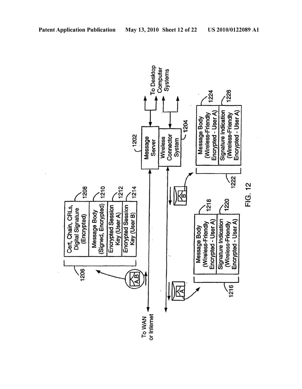 SYSTEM AND METHOD FOR COMPRESSING SECURE E-MAIL FOR EXCHANGE WITH A MOBILE DATA COMMUNICATION DEVICE - diagram, schematic, and image 13