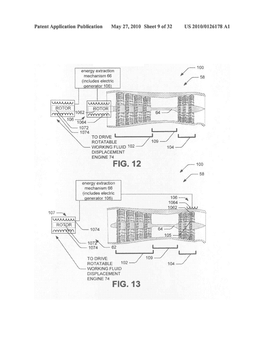 Hybrid propulsive engine including at least one independently rotatable turbine stator - diagram, schematic, and image 10