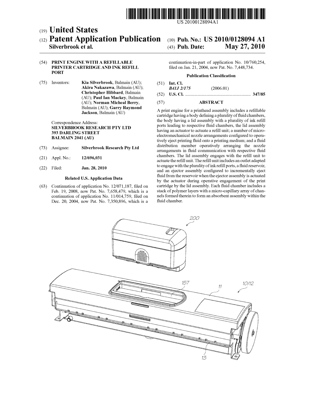 Print Engine With A Refillable Printer Cartridge And Ink Refill Port - diagram, schematic, and image 01