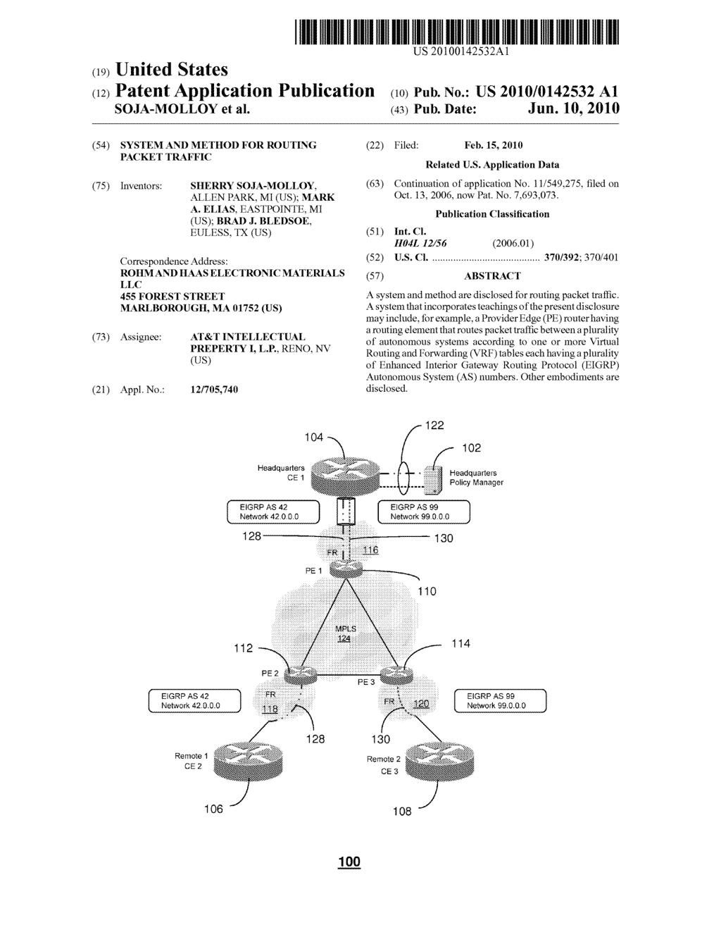 SYSTEM AND METHOD FOR ROUTING PACKET TRAFFIC - diagram, schematic, and image 01