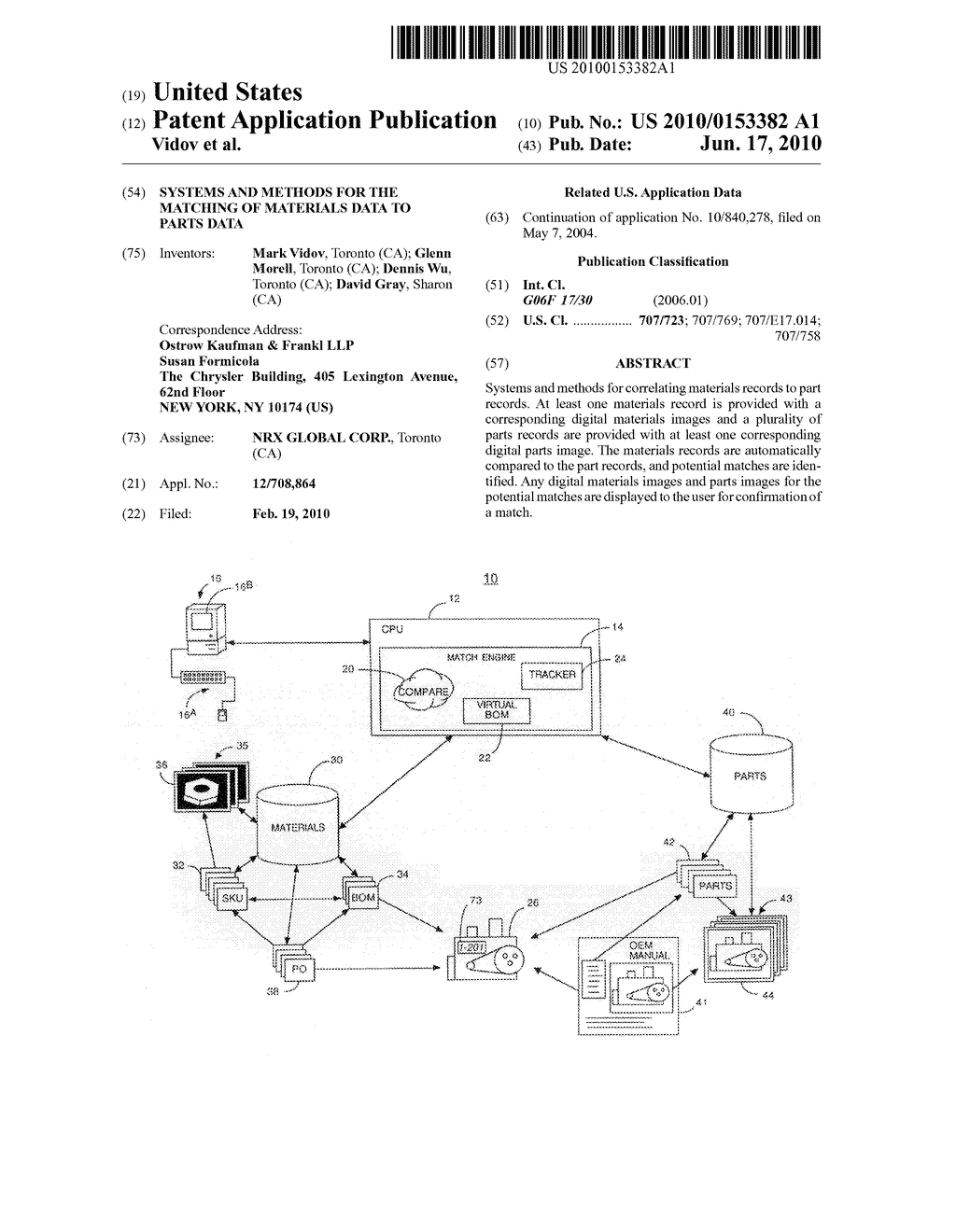SYSTEMS AND METHODS FOR THE MATCHING OF MATERIALS DATA TO PARTS DATA - diagram, schematic, and image 01