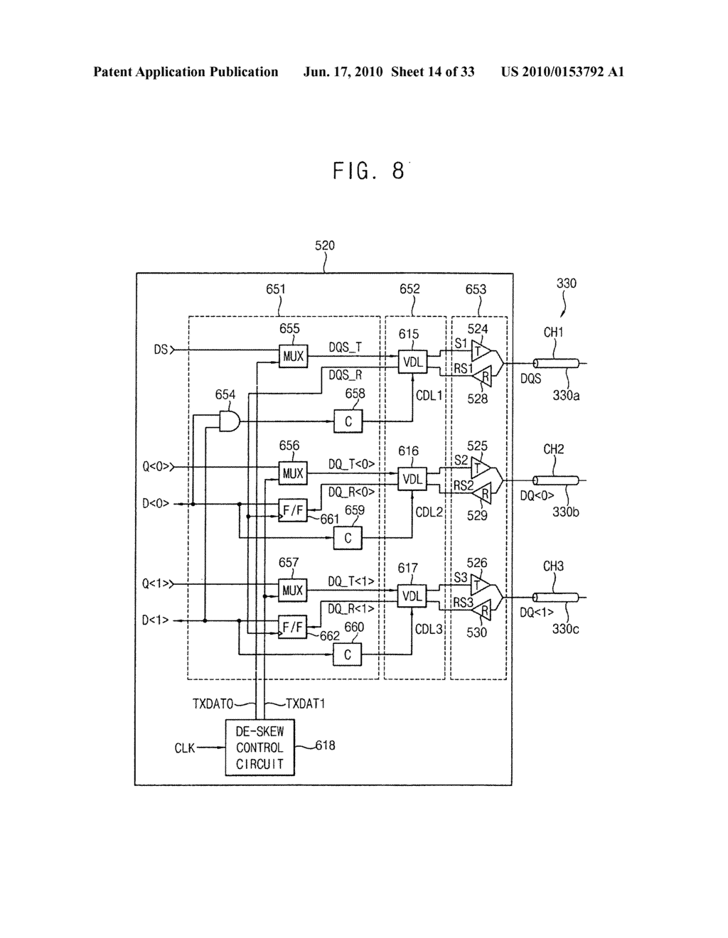 Circuit and method for correcting skew in a plurality of communication channels for communicating with a memory device, memory controller, system and method using the same, and memory test system and method using the same - diagram, schematic, and image 15