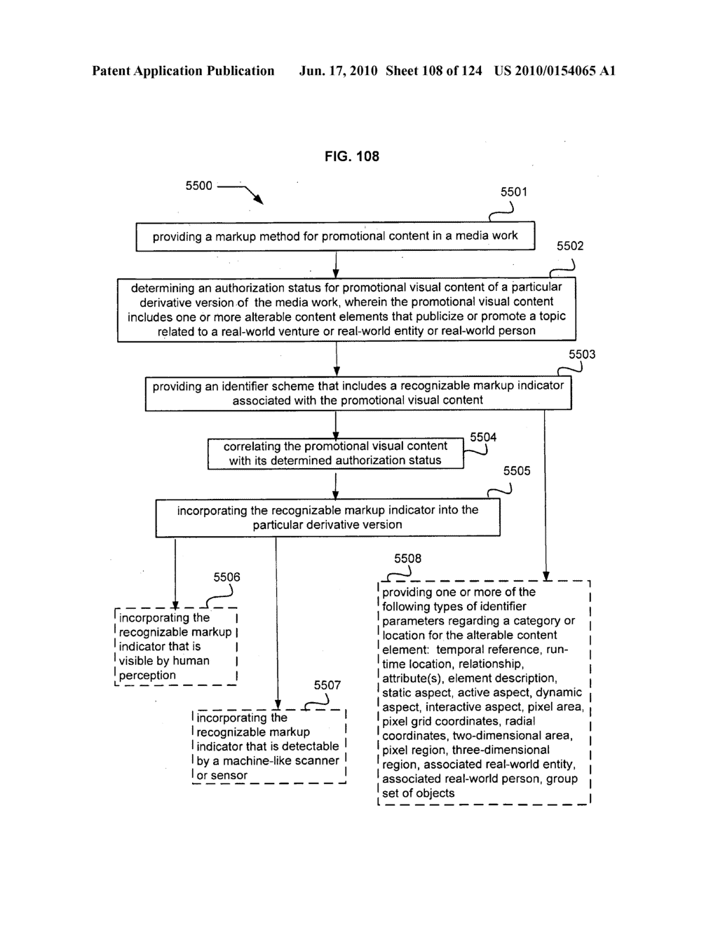 Media markup for user-activated content alteration - diagram, schematic, and image 110