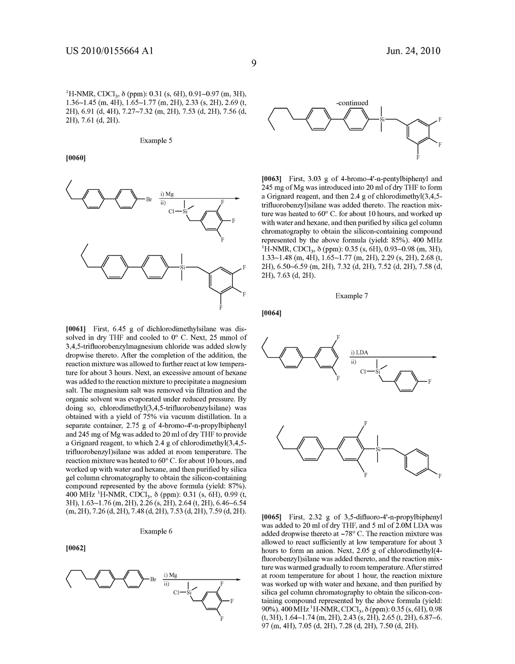LIQUID CRYSTAL COMPOSITION COMPRISING NOVEL SILICON CONTAINING COMPOUNDS AND LIQUID CRYSTAL DISPLAY DEVICE USING THE SAME - diagram, schematic, and image 10