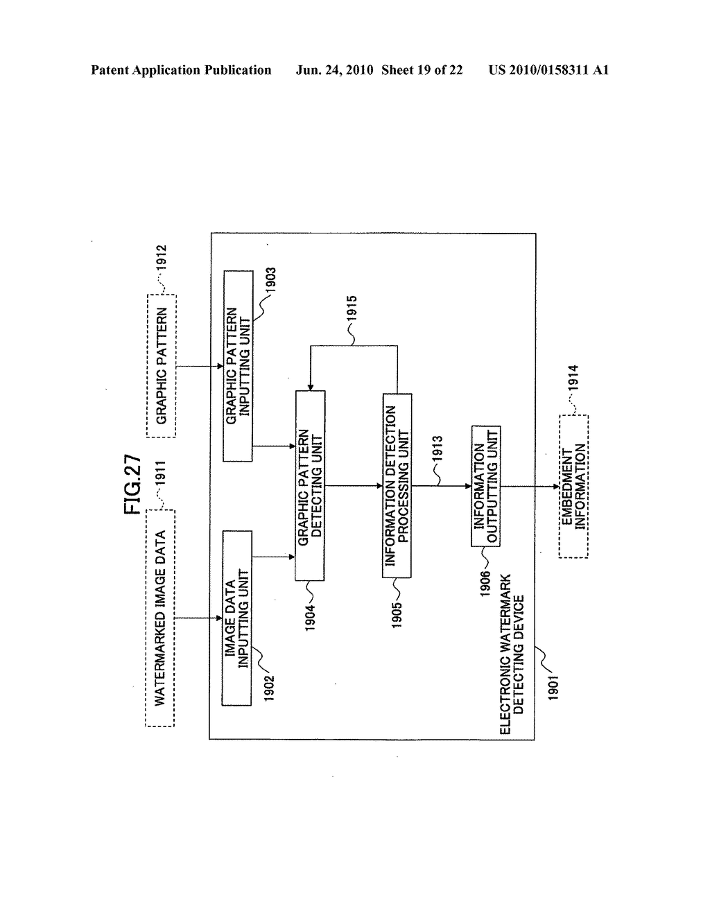 Electronic watermark embedding device, electronic watermark detecting device, and programs therefor - diagram, schematic, and image 20
