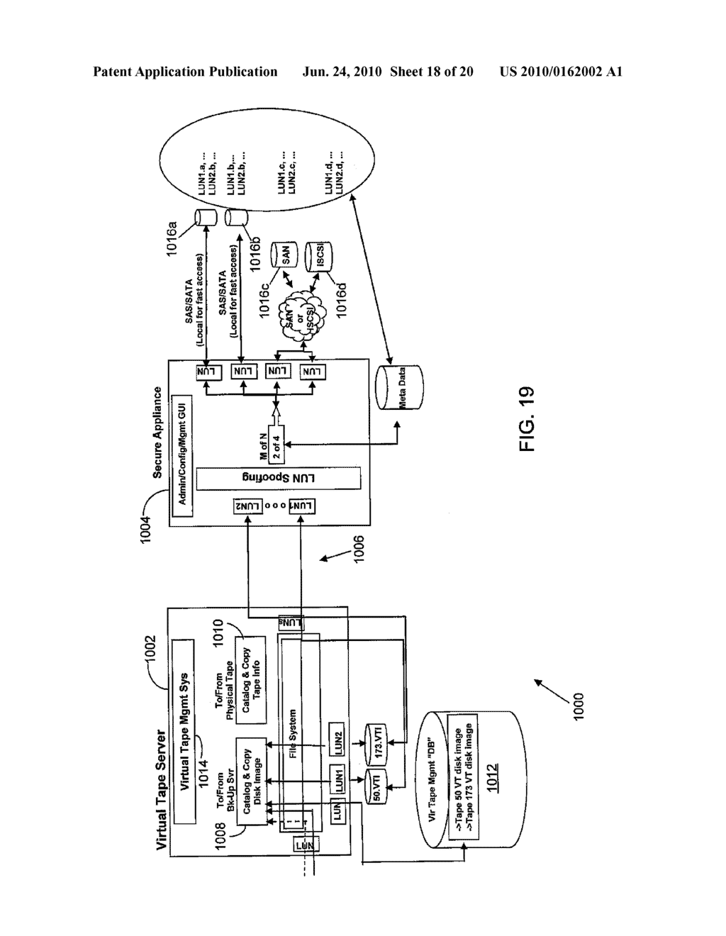 VIRTUAL TAPE BACKUP ARRANGEMENT USING CRYPTOGRAPHICALLY SPLIT STORAGE - diagram, schematic, and image 19
