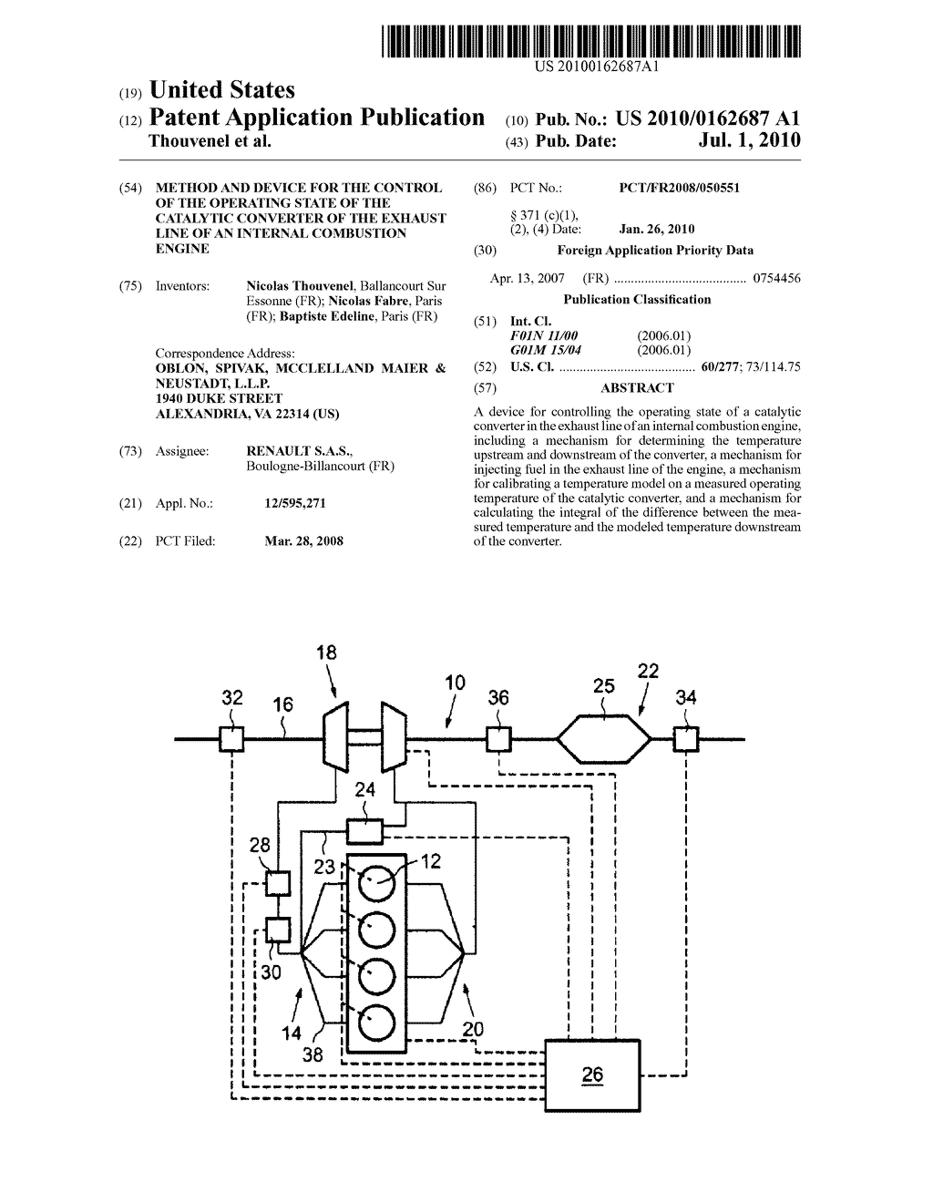 METHOD AND DEVICE FOR THE CONTROL OF THE OPERATING STATE OF THE CATALYTIC CONVERTER OF THE EXHAUST LINE OF AN INTERNAL COMBUSTION ENGINE - diagram, schematic, and image 01