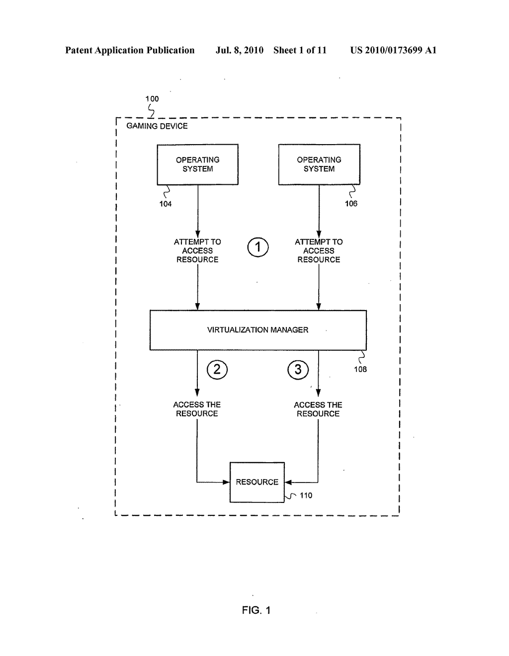 GAMING DEVICE WITH A VIRTUALIZATION MANAGER - diagram, schematic, and image 02