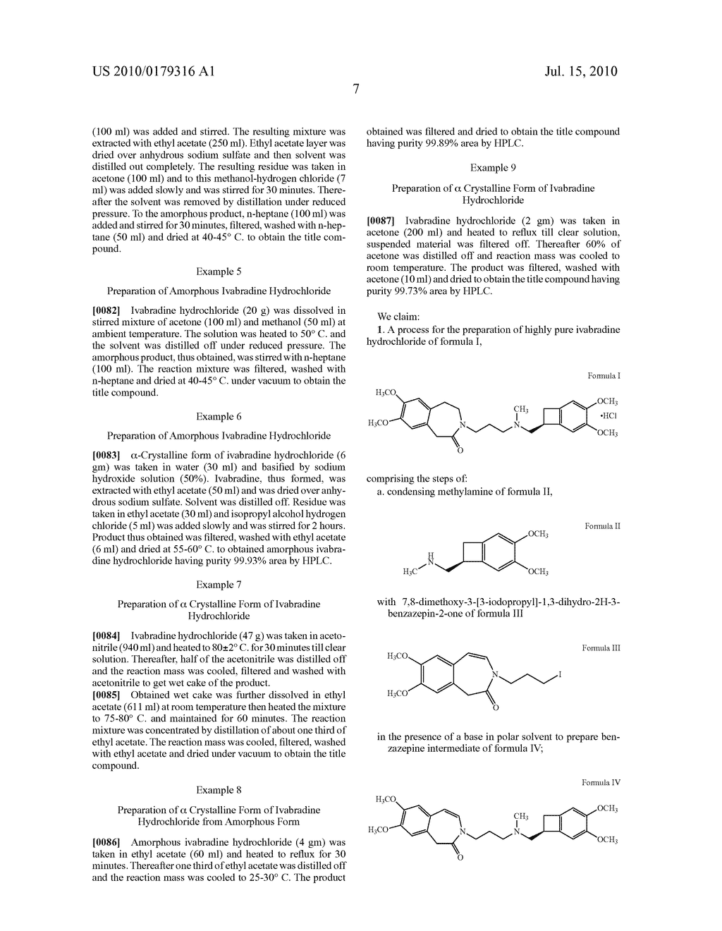 PROCESS FOR THE PREPARATION OF IVABRADINE HYDROCHLORIDE AND POLYMORPH THEREOF - diagram, schematic, and image 10