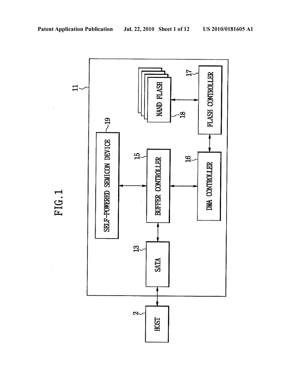 DATA STORAGE DEVICE HAVING SELF-POWERED SEMICONDUCTOR DEVICE - diagram, schematic, and image 02