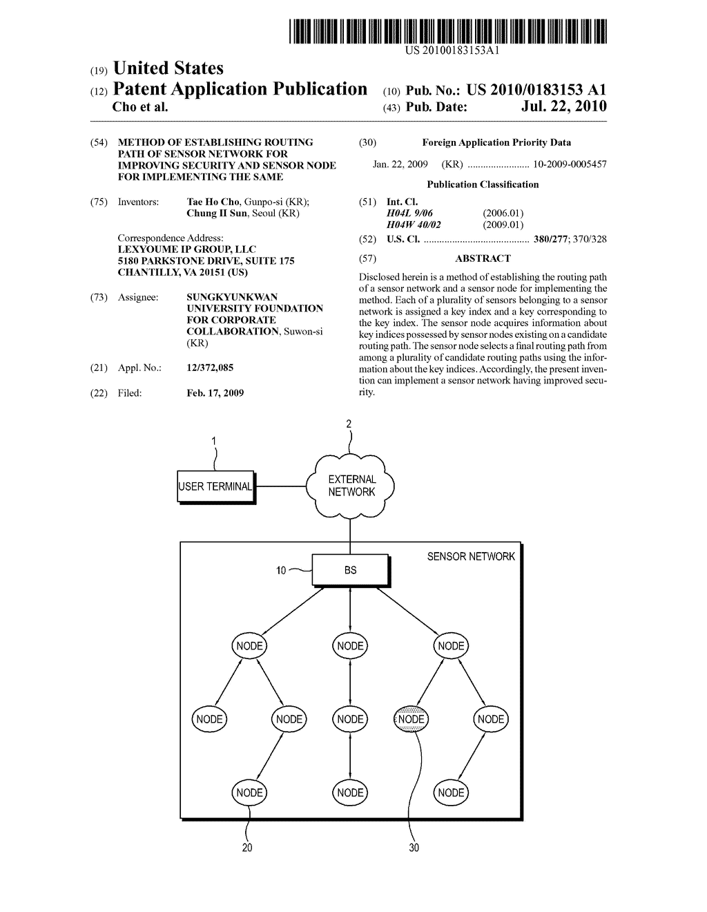 METHOD OF ESTABLISHING ROUTING PATH OF SENSOR NETWORK FOR IMPROVING SECURITY AND SENSOR NODE FOR IMPLEMENTING THE SAME - diagram, schematic, and image 01