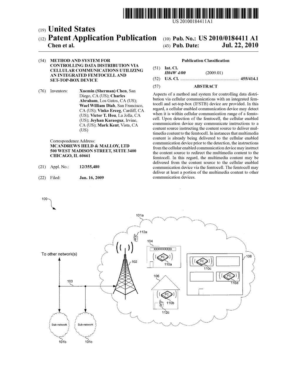 METHOD AND SYSTEM FOR CONTROLLING DATA DISTRIBUTION VIA CELLULAR COMMUNICATIONS UTILIZING AN INTEGRATED FEMTOCELL AND SET-TOP-BOX DEVICE - diagram, schematic, and image 01