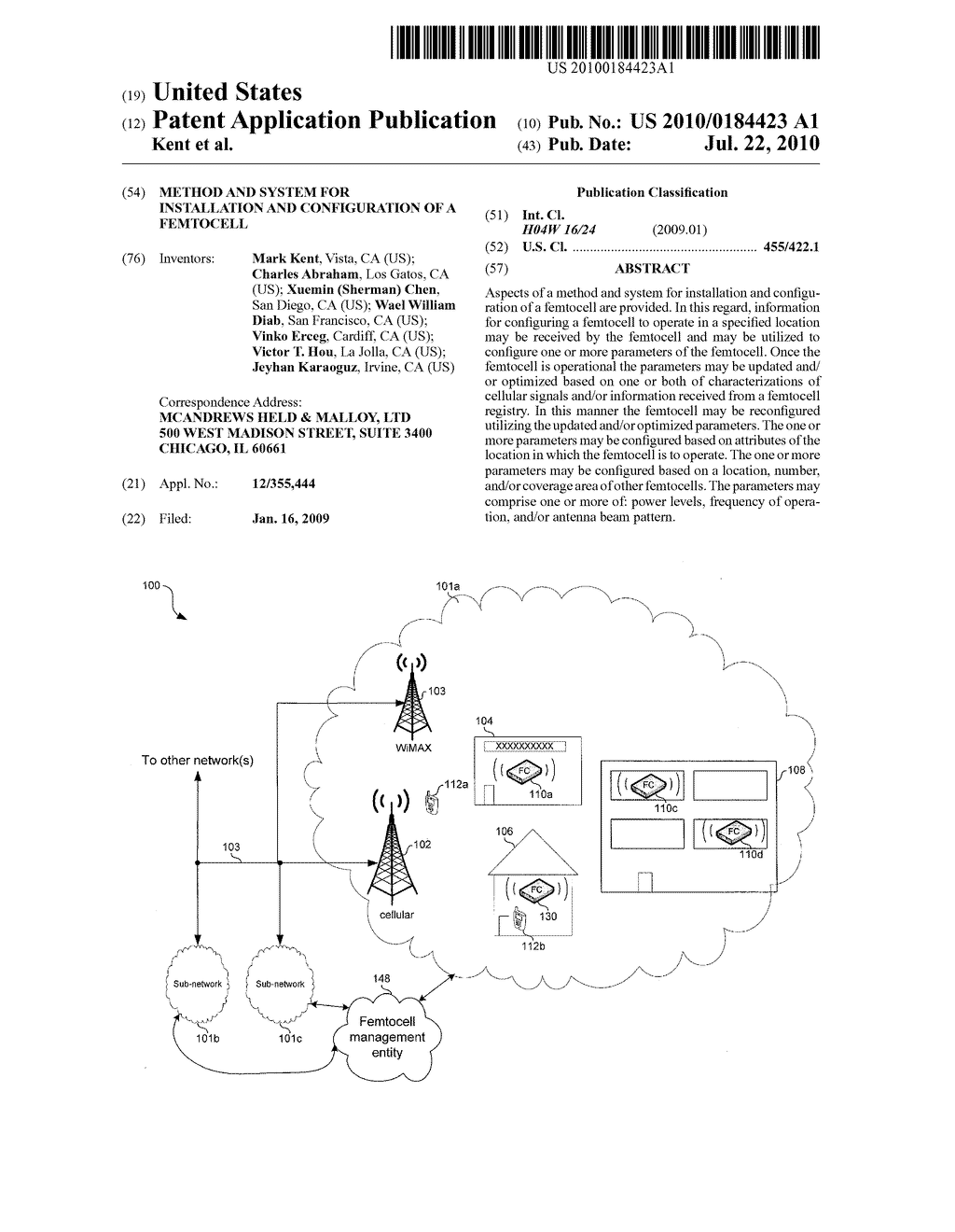 METHOD AND SYSTEM FOR INSTALLATION AND CONFIGURATION OF A FEMTOCELL - diagram, schematic, and image 01