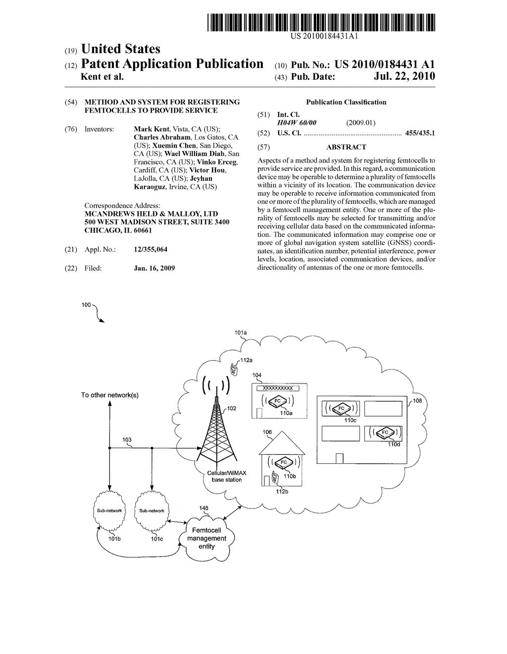 Method and System for Registering Femtocells to Provide Service - diagram, schematic, and image 01