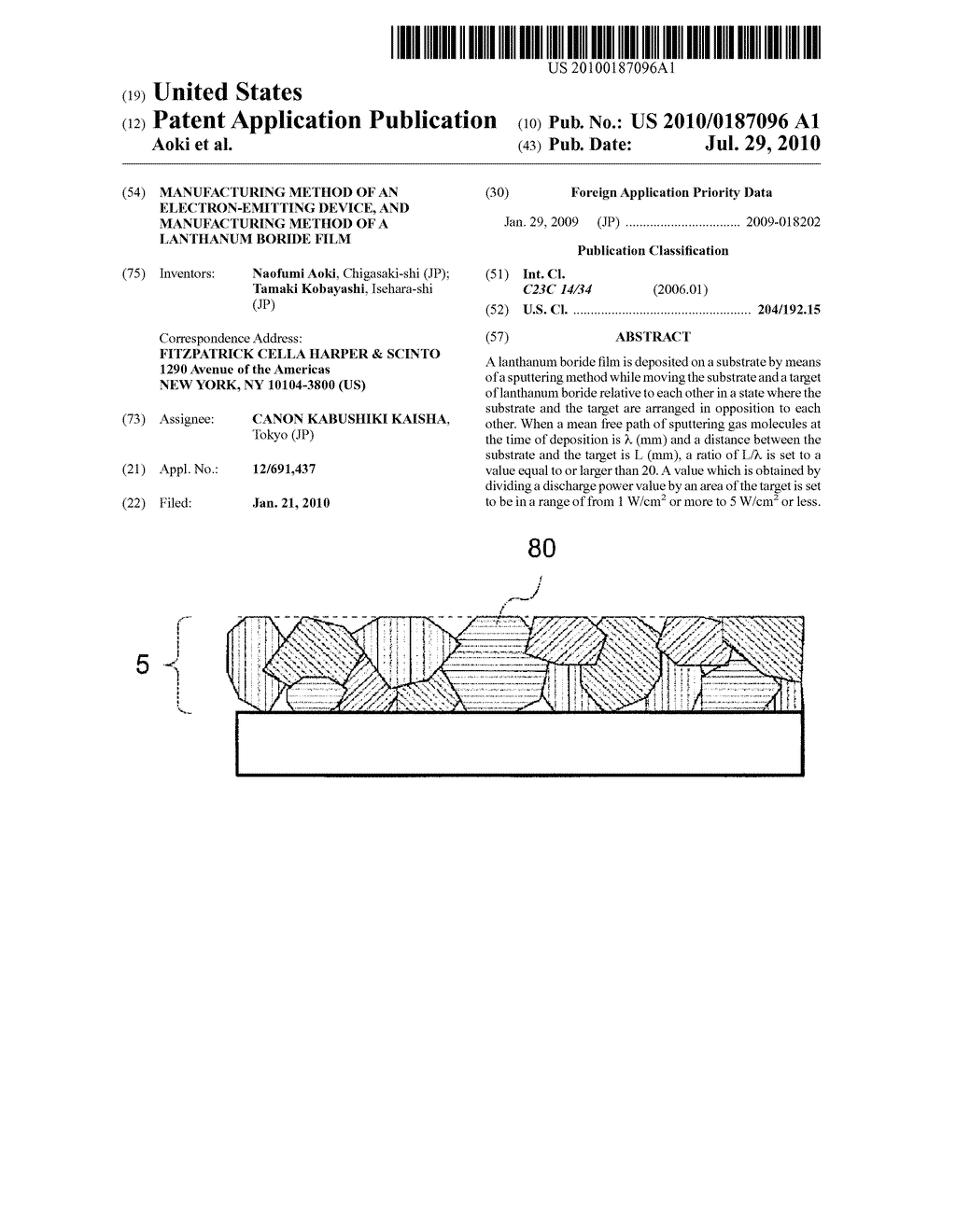 MANUFACTURING METHOD OF AN ELECTRON-EMITTING DEVICE, AND MANUFACTURING METHOD OF A LANTHANUM BORIDE FILM - diagram, schematic, and image 01
