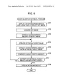 Imaging apparatus, retrieval method, and program diagram and image