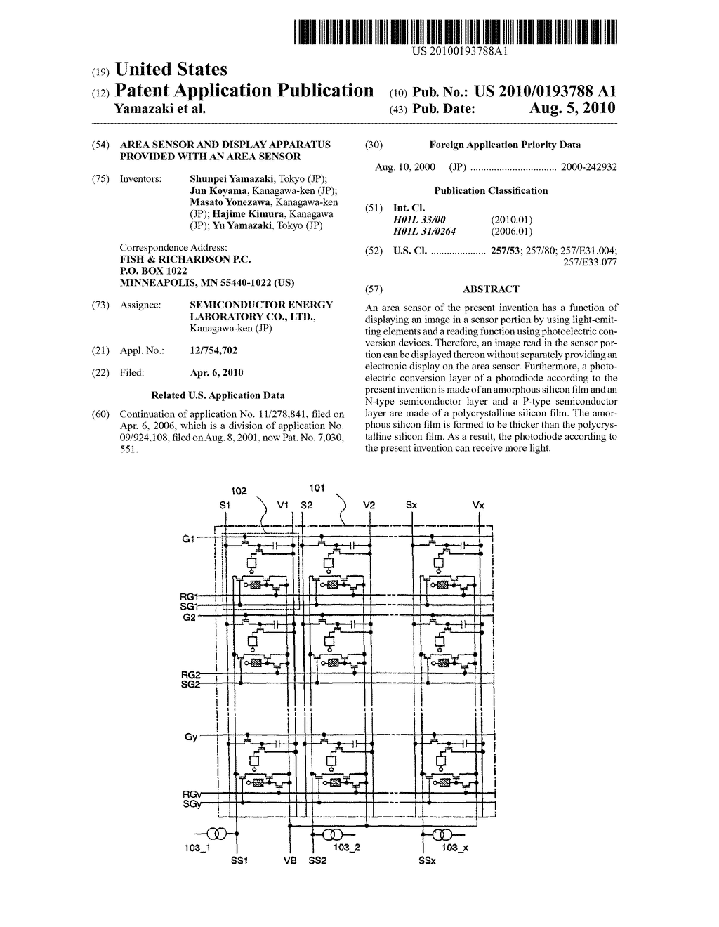 AREA SENSOR AND DISPLAY APPARATUS PROVIDED WITH AN AREA SENSOR - diagram, schematic, and image 01