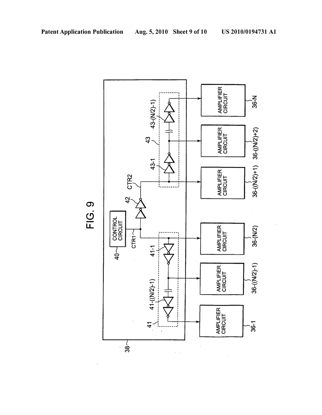 Display driver including plurality of amplifier circuits receiving delayed control signal and display device - diagram, schematic, and image 10